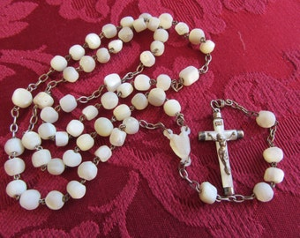 Antique rosary mother of Pearl and silver bead 20424 Rosary