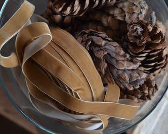 """buckskin 3/4"""" velvet ribbon"""