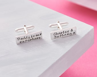 Cufflinks for Dad / Father's Day Cufflinks / Personalised Fathers Day Gift / Daddy is our Superhero / Superhero Cufflinks / Sterling Silver