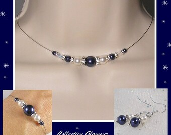 Ornament wedding 3 pieces Swarovski Midnight blue and ivory - Glamour Collection - lily - wedding ceremony