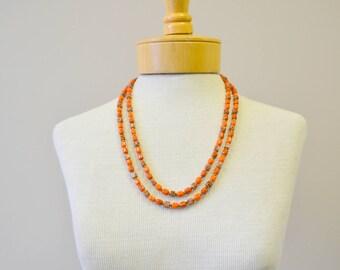 1960s Long Orange Glass Bead Necklace