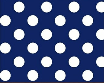 "15"" REMNANT Windham Basic Brights - Polka Dot in Navy Blue - American Basics - Cotton Quilt Fabric Dots - Windham Fabrics - 29395-2 (W3359)"
