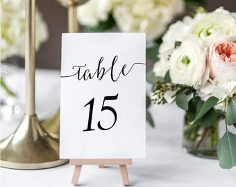 Black Table Numbers Printable - Set of 1-50 - calligraphy style -Instant Download- Printable PDF - Wedding or Banquet - 4x6 inches - #GD0716