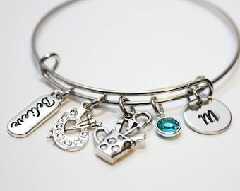 art charm bracelet, gift for painter, painter gift, gift for artist, artist jewelry, painter, artist gift, artist jewelry,artist bracelet