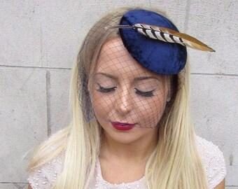 Navy Blue Birdcage Veil Pheasant Statement Feather Fascinator Hat Hair Vtg 2584
