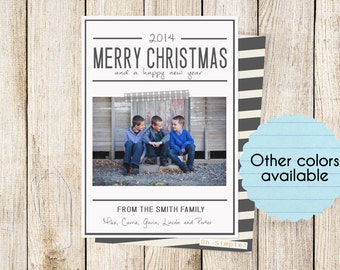 Holiday Cards: Modern Stripes  (Digital File or Printed Cards)