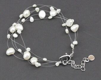 Multi strand pearl bracelet,illusion bracelet,bridesmaid bracelet,5 lines pearl floating bracelet,wedding pearl bracelet,bridesmaid gift