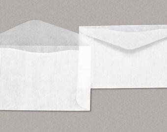 """100 sobres de papel cristal 2 -1/2 x 4 -1/4 pulgadas (""""No.3"""") - lado apertura, aleta V"""