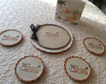 Vintage Embroidered Coaster/Luxury Decor Home & Living/ Drink and Barware Set