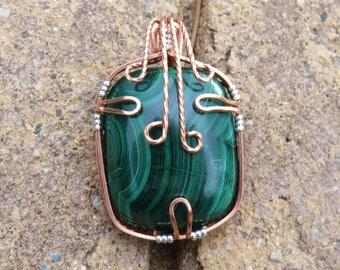P-3 Malachite Copper Wire Wrapped Scarf Pin Brooch, Malachite Brooch, Wire Wrapped Brooch, Malachite Jewelry, Malachite Cab