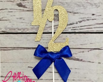 1/2 Birthday Cake Topper with ribbon, Half Cake Topper, 6 month birthday cake topper
