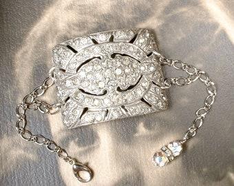 Antique 1920s Art Deco Bracelet, French Paste Rhinestone Silver Vintage Wide Cuff Shoe Buckle Statement, Great Gatsby Flapper Assemblage