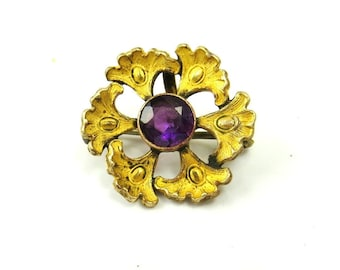 Victorian Gold Filled Watch Pin, Antique Amethyst Glass Brooch, Fob Pin, 1900s Antique Jewelry, Victorian Jewelry