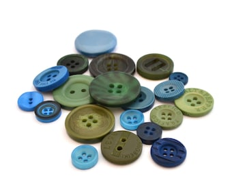 Set of 1 yearly green blue acrylic buttons