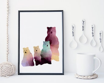 Bear family watercolor art print, nursery wall decor, nursery art, baby's room decor, bear print, animal art print, poster, cute, simple