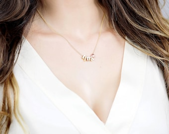 Delicate Rose Gold Initial Necklace, Dainty Initial Jewelry, Personalized Letter Gift, Bridesmaid Gift - BIN *