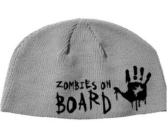 Zombies on Board Walking Dead Walker Zombie Beanie Knitted Hat Cap Winter Clothes Horror Merch Massacre Christmas Black Friday