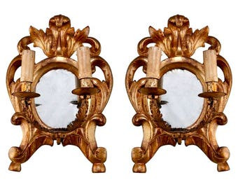 19th Century Carved Gilt Wood Two Light Mirror Back Sconces [2244]