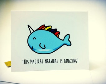 Magical Narwhal Birthday Card, doodle, made on recycled paper, comes with envelope and seal