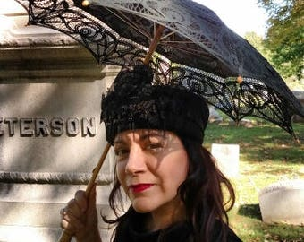 VICTORIA  Funeral Mourning Hat Goth Victorian Riding Style