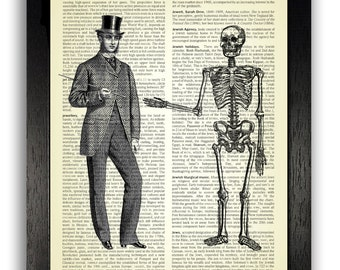 The Handshake of Death, Gothic Bedroom Wall Decor, Art Print on Dictionary Page, Skeleton Poster Art, Skeleton Illustration, Bedroom Decals
