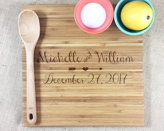 Personalized Wedding or Anniversary Cutting Board Personalized With Bride and Groom Names and Wedding Date, Personalized Wedding Gift