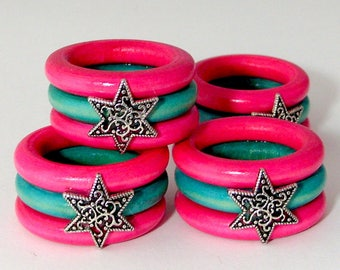 Star of David Napkin Rings - Multi-colored - Set of Four