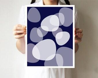 Modern Minimalist, Geometric Wall Art, Circle Print, Abstract Art, Minimalist Poster, Geometric, Modern Decor, Navy blue, Dark blue art