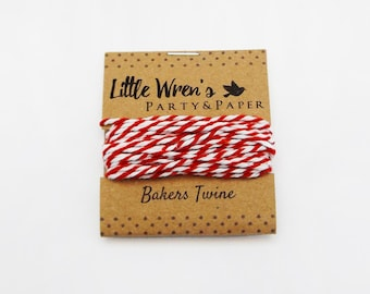Bakers Twine // Red & White Twine • Cotton Twine • Paper Craft Supplies • Jewellery Making • Gift Wrapping • 12 ply String