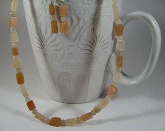 Peach Moonstone Set with Sterling Silver