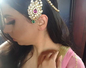 Ruby and Green Gold Matha Patti, Gold Maang Tikka, Damini, Indian Headpiece, Indian Jewelry, Hair Jewelry, Dupatta, Indian Nose Ring Shop