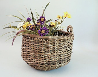 Woven Twig Storage Basket With Handles