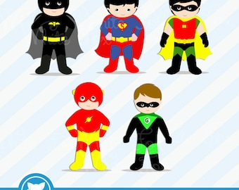 50% OFF SALE Superhero Clipart / Personal and Commercial Use / 3 FREE Superhero /  Superheroes Clip Art / Item Number: Superhero-B1