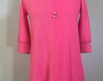 Vintage 60s Bright Pink Babydoll Dress - Hippie / Retro / Mod / Bold - 1960s