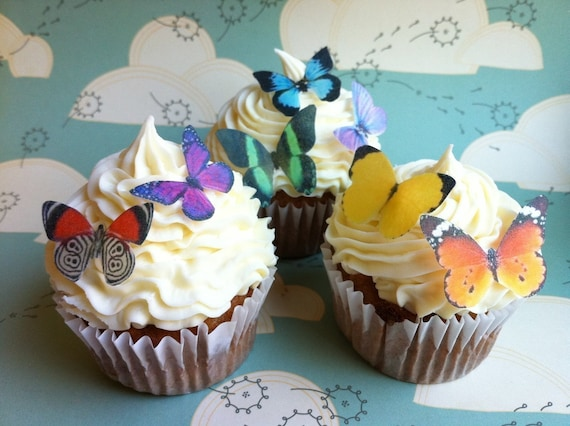 Wedding Cake Topper EDIBLE Butterflies The Original - 24 Small Assorted - Cake & Cupcake toppers - PRECUT and Ready to Use