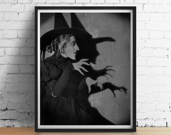 Moonlit Wicked WITCH Wizard of Oz Chalkboard Chalk Black Grey Poster Art Print Vintage Distressed Primitive Halloween