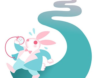 White Rabbit of Alice In Wonderland Art Print, Childrens Illustration, Nursery Art, Kids Room Art, 9x12, Lewis Carroll, Childs Room Decor
