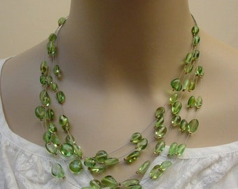 Multistrand Green Caribbean Amber / Copal Necklace - Natural Organic Gemstone Jewelry