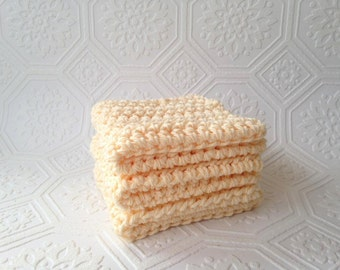 Eco-friendly Washcloths, Cotton Washcloths, Crochet Washcloths, Cleaning Cloth, Reusable, Set of 3, Crochet Washcloths, Handmade