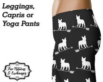 Frenchie Leggings, Yoga Pants, Capris • French Bulldog Clothing French Bulldog Leggings Frenchie Mom Yoga Leggings Workout Tights Gift Dog