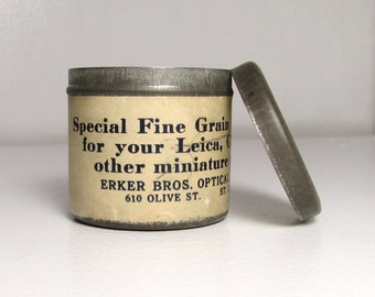 Vintage Erker Bros. Optical Co. Developing Powder Tin - 1940's St. Louis, Missouri Memorabilia