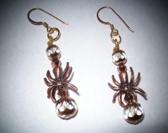 Copper Spider dangle earrings