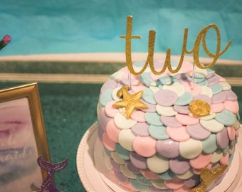 Glitter number or letter caketopper/ Personalized birthday caketoppe. Mermaid birthday party. Under the sea birthday bash