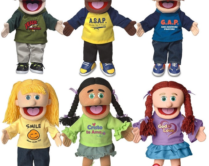 """Puppet Ministry Puppets: Set of 6 Christian Kids 14"""" Full Body Hand Puppets - NEW"""