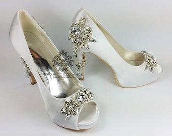Ramona custom wedding shoes, crystal wedding shoes, crystal back wedding shoes, high heel wedding shoes, designer wedding shoes