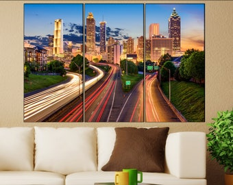 Atlanta wall decor art  Atlanta black white  Atlanta canvas wall art  canvas wall art
