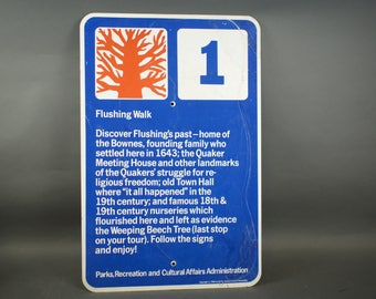 1960s Flushing, Queens Parks and Recreations Sign.  Corona Park Walk Trail Metal Sign / Queens New York / Sign