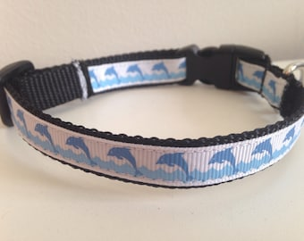 1/2 Inch Blue Dolphins Small Dog Collar