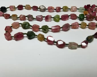 Tourmaline Faceted Nugget  Beads 4mm-11mm