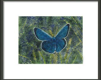 Mother's Day Gift Idea Instant Print Download 5x7 Print from Watercolor Batik Blue Butterfly for framing